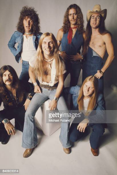 American Southern rock group Black Oak Arkansas 23rd September 1974 Singer Jim 'Dandy' Mangrum is at centre The band are clockwise from left bassist...