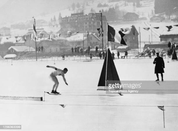 American speed skater Charles Jewtraw competing in the men's 500 metres speed skating event of the 1924 Winter Olympics, at the Stade Olympique de...