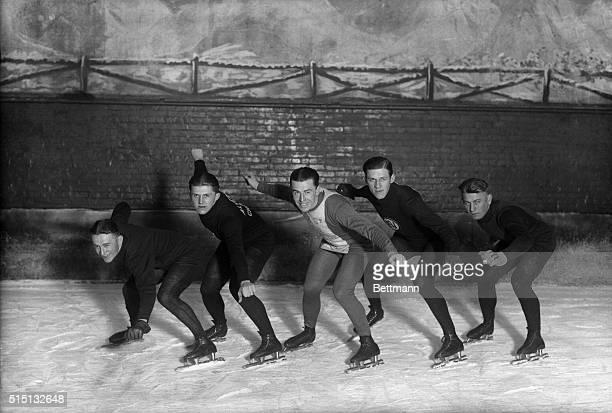 American speed skaters chosen for Olympics Left to right Duke Donovan of St Paul Minnesota Harry Kaskey of Chicago Joe Moore of New York William...