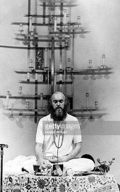 American spiritual teacher Baba Ram Dass meditates at the First Unitarian Church on January 2 1970 in San Francisco California