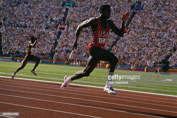 American sprinter Carl Lewis wins gold medal in the 4 x 100meter relay at the 1984 Olympic Games in Los Angeles