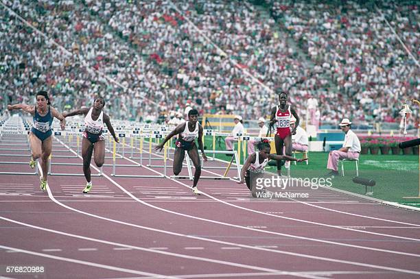 American sprinter Gail Devers trips on the last hurdle during the 100meter hurdles competition at the 1992 Summer Olympic Games in Barcelona Spain |...