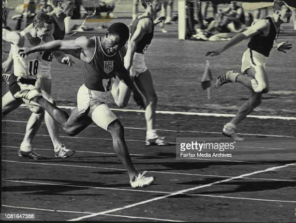 American sprinter Mel Pender wins the Australian 100 metres championship yesterday from Greg Lewis with Bob Lay on the far left in third place March...