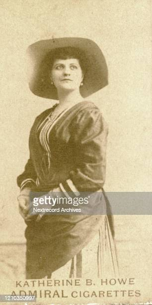 American stage actress Katherine B Howe depicted on collectible tobacco card from the 1890's distributed by American cigarette and tobacco...