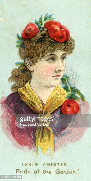 American stage actress Leslie Chester depicted on collectible tobacco card from the Fancy Dress Ball series from 1887 distributed by cigarette and...
