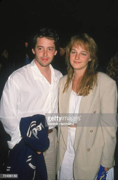American stage screen and television actors Matthew Broderick and Helen Hunt pose for a photograph at the Cirque du Soleil circus performance Santa...