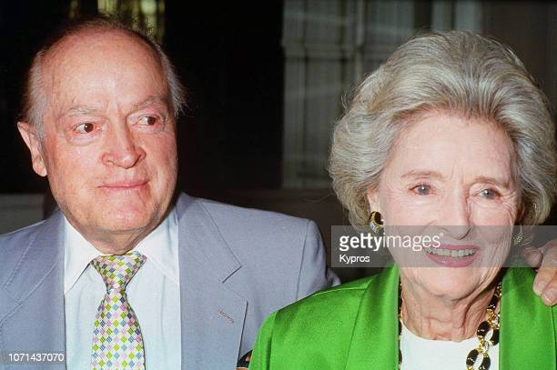 American stand-up comedian, vaudevillian, actor, singer, athlete, and author Bob Hope with his wife, American singer, entertainer, philanthropist...