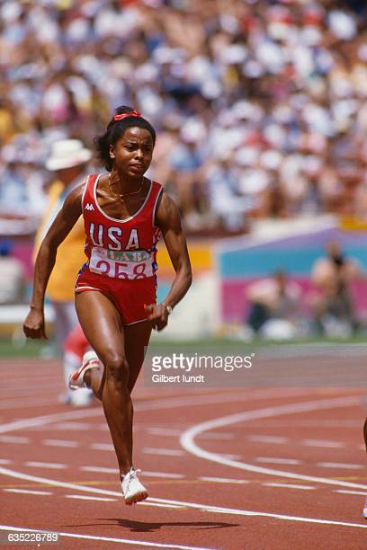 American star sprinter Evelyn Ashford competes in the women's 100meter sprint at the Olympic Games