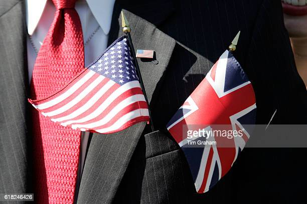 American stars and stripes flag and British Union Jack flag together symbol of Anglo American partnership merging Shared aims