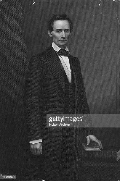 American statesman Abraham Lincoln the 16th President of the United States of America Original Artwork Engraved by D J Pound from a photograph by...