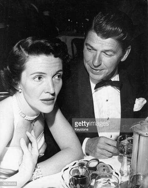 American statesman and film actor Ronald Reagan later the 40th President of the United States of America with his wife actress Nancy Davis Reagan