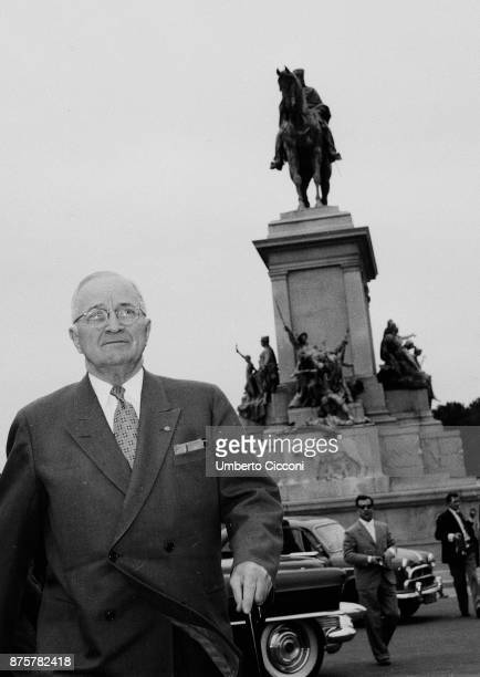 American statesman and former President of the United States Harry Truman for an official visit in Rome in 1956