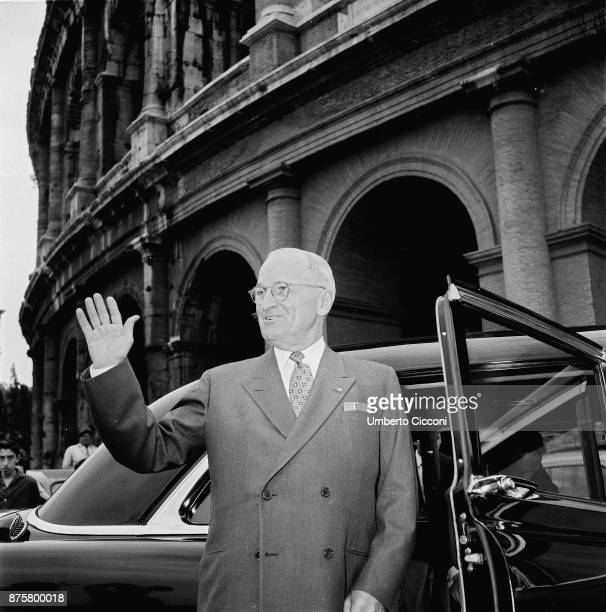 American statesman and former President of the United States Harry Truman at the Colosseum for an official visit in Rome in 1956