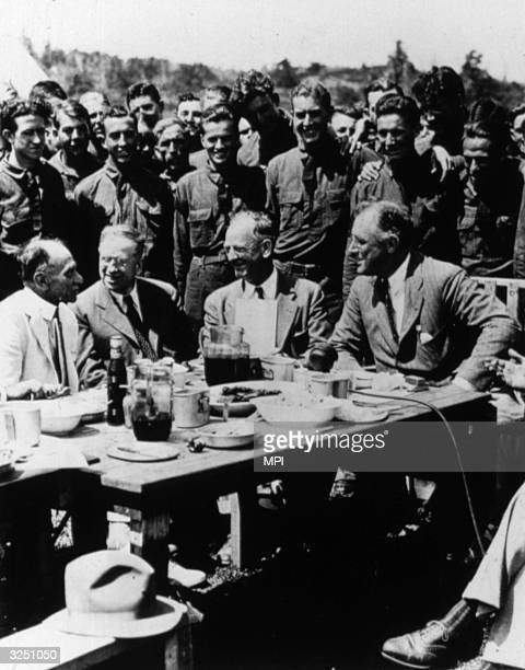 American statesman Franklin Delano Roosevelt, the 32nd President of the United States of America at a Civilian Conservation Corps Camp in Virginia.