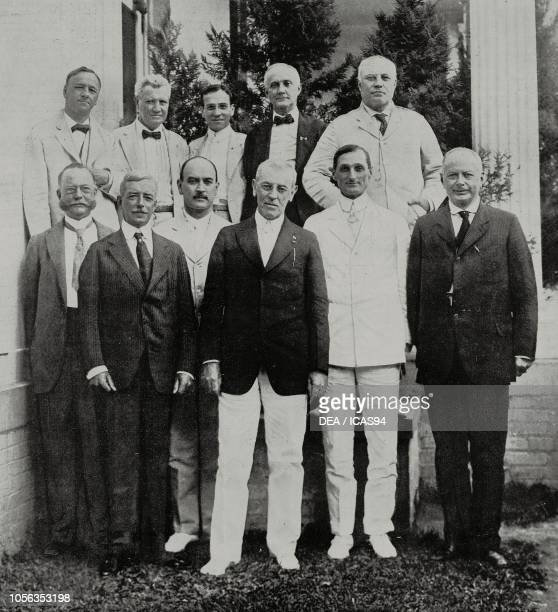 front row left to right William Cox Redfield Robert Lansing David Franklin Houston Thomas Woodrow Wilson President of the United States of America...