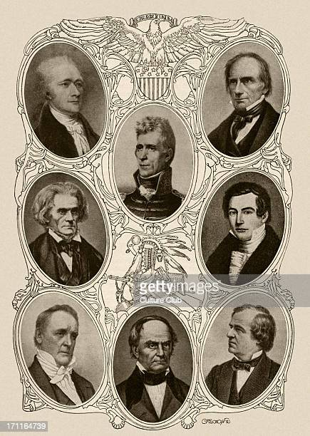 Alexander Hamilton 1st United States Secretary of the Treasury Top row centre Andrew Jackson 7th President of the United States Top row right Henry...
