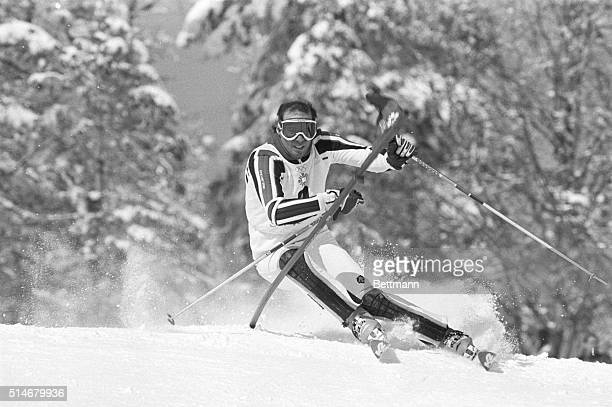 American Steve Mahre navigates the slalom course in the first run of the men's slalom, the final alpine event of the 1984 Winter Olympics in...