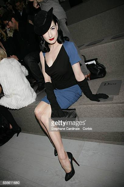 American stripper dancer and model Dita Von Teese at the Christian Dior fashion show during Paris Fashion Week
