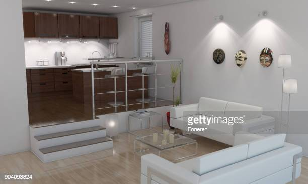 American Style Minimalist Living Room / Kitchen