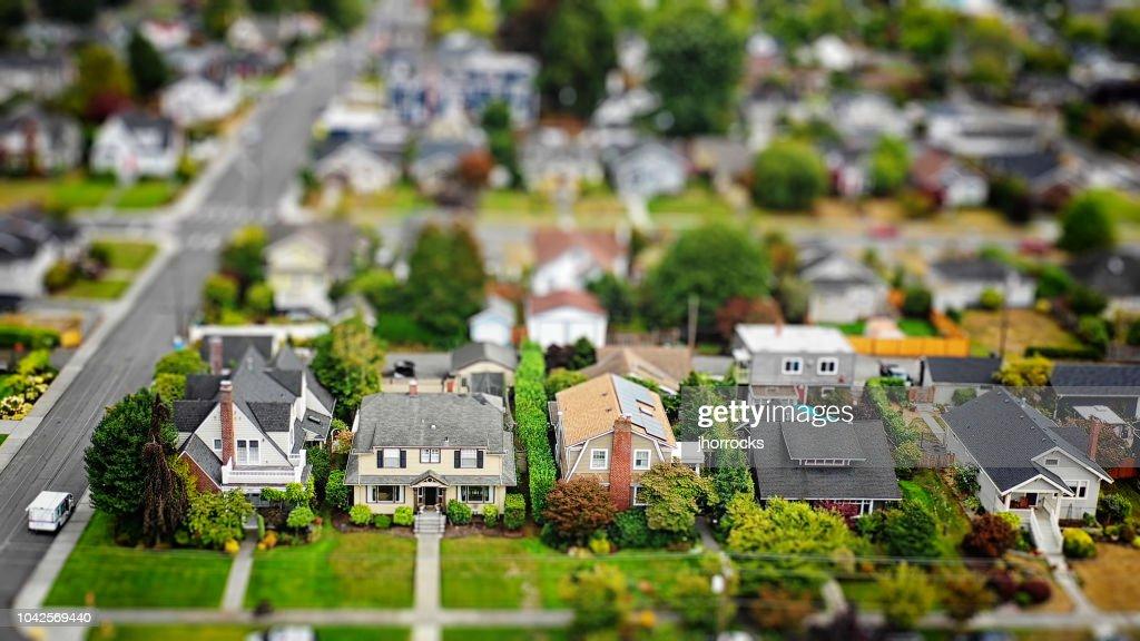Foto aérea de barrio suburbano Tilt-shift : Foto de stock