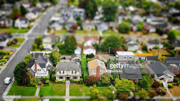 american suburban neighborhood tilt-shift aerial photo - aerial view stock pictures, royalty-free photos & images