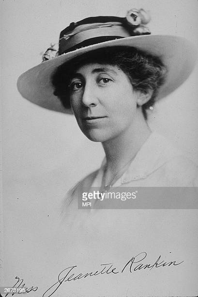 American suffragette and politician Jeanette Rankin one of fifty seven members of the house to vote against entry into World War I she was returned...