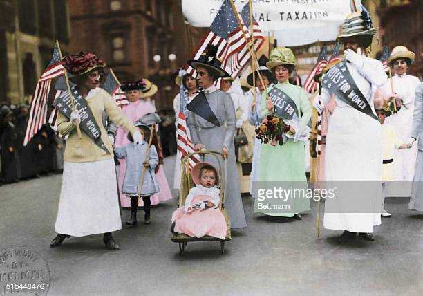 American Suffragette parade in New York City May 1912 Color Photograph BPA