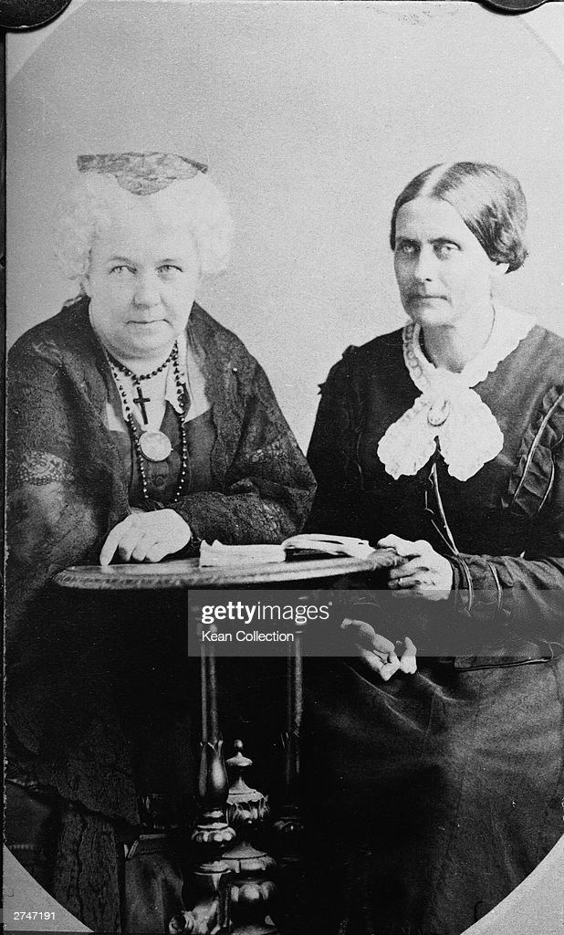 American suffragettes Susan B. Anthony (1820 - 1906) and Elizabeth Cady Stanton (1815 - 1902) sit at a desk together, circa 1890s.