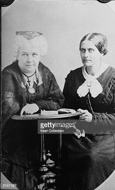 American suffragettes Susan B Anthony and Elizabeth Cady Stanton sit at a desk together circa 1890s