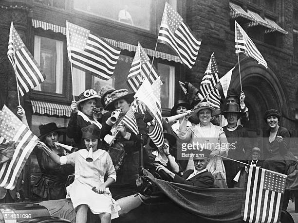 American suffragist hold a jubilee celebrating their victory following the passing of the 19th Amendment in August 1920. Miss Melanie Lowenthal who...
