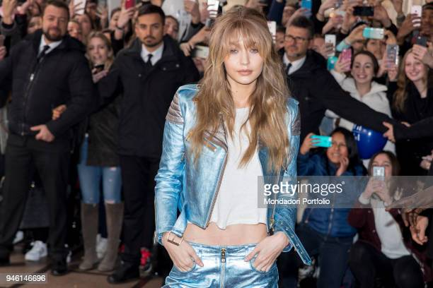 American super top model Gigi Hadid at La Rinascente in Piazza del Duomo durin the Fashion Week F/W 2017/2018 Milan February 24 2017