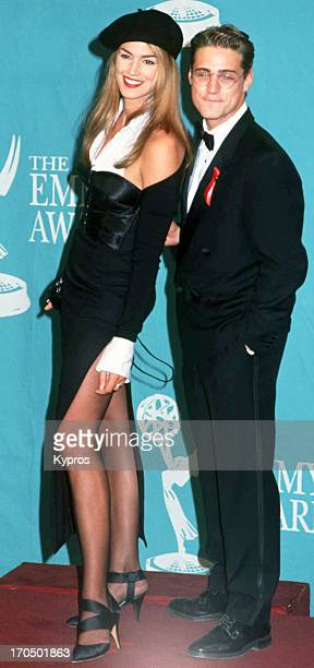 American supermodel Cindy Crawford and actor Jason Priestley at the 44th Annual Primetime Emmy Awards on August 30 1992 at Pasadena Civic Auditorium...