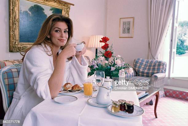 American supermodel Cindy Crawford at breakfast.