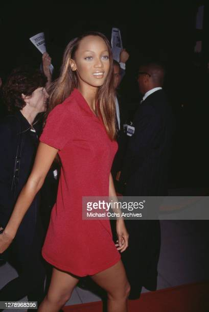 """American supermodel Tyra Banks attends the premiere of movie """"Panther"""" in Los Angeles, California, US, May 1995."""