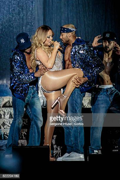 American superstar Mariah Carey in Europe for the first time after 13 years performs live at the Mediolanum Forum of Assago in Milan on April 16th...