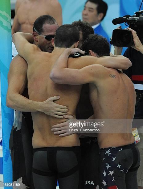 American superstar swimmer Michael Phelps and his team of Aaron Peirsol backstroke Brendan Hansen breaststroke and Jason Lezak freestyle won the...