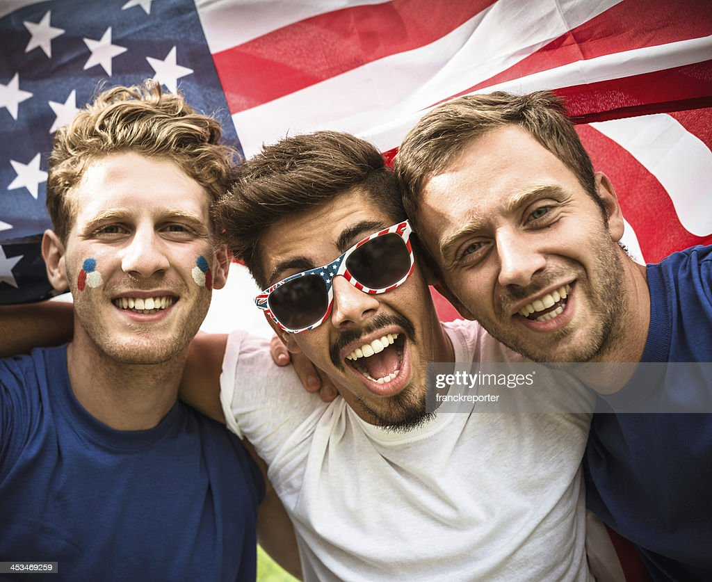 american supporter at the stadium : Stock Photo