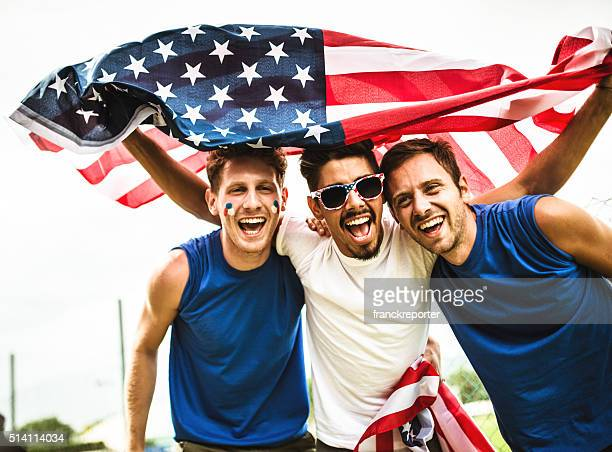 american supporter happiness for the national holiday - independence day stock pictures, royalty-free photos & images