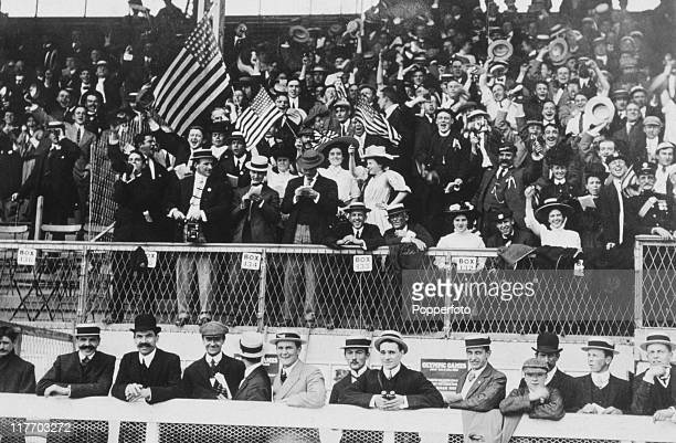 American supporters cheer another US victory at the 1908 Summer Olympics in London