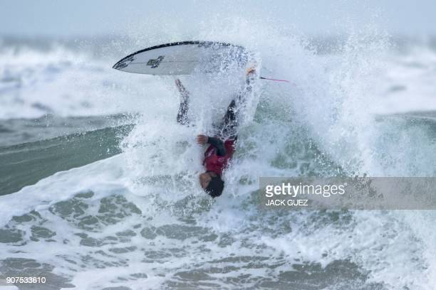 TOPSHOT American surfer Kei Kobayashi rides a wave during the Men's QS 3000 of the World Surf League SEAT Pro Netanya Semifinals on January 20 in the...