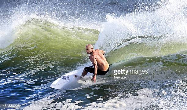 American surfer Kelly Slater hits the waves at Snapper Rocks in preparation for the Quiksilver Pro on the Gold Coast Australia