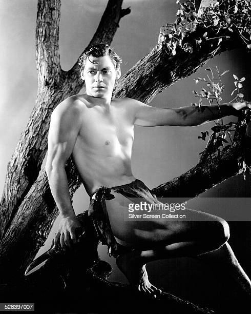 American swimmer and actor Johnny Weissmuller as Tarzan in a promotional portrait for 'Tarzan the Ape Man' directed by W S Van Dyke 1932