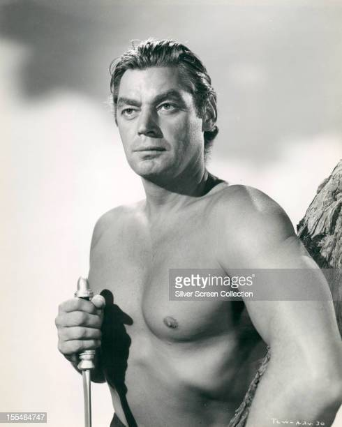 American swimmer and actor Johnny Weissmuller as Tarzan in 'Tarzan And The Leopard Woman' directed by Kurt Neumann 1946