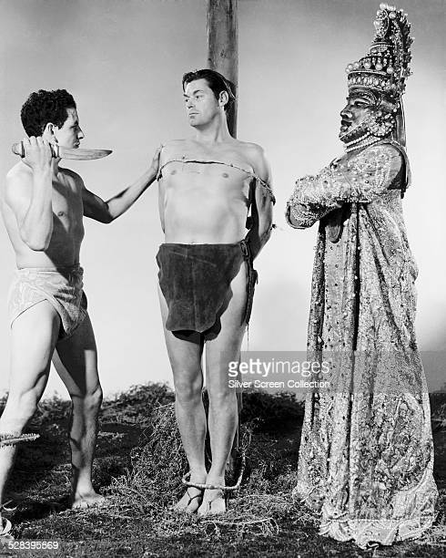American swimmer and actor Johnny Weissmuller as Tarzan in 'Tarzan And The Mermaids' directed by Robert Florey 1948 This was Weissmuller's last film...