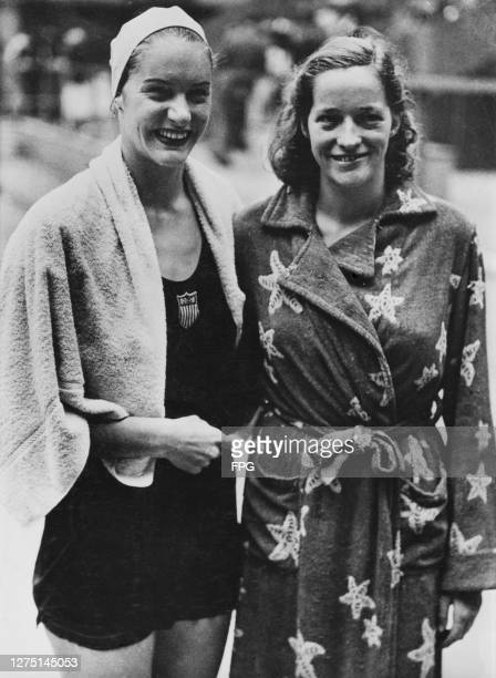 American swimmer Ann Curtis and Danish swimmer Karen Harup wearing a gown after Harup had won the semifinal with Curtis finishing third in the...