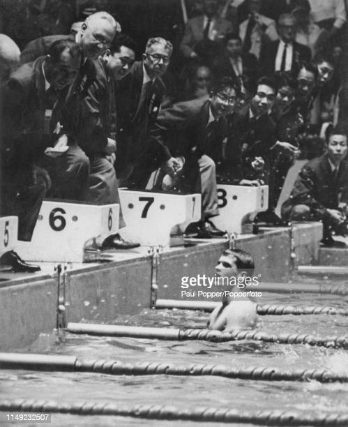American swimmer Dick Roth pictured after finishing in first place to win the gold medal for the United States in the Men's 400 metre individual...