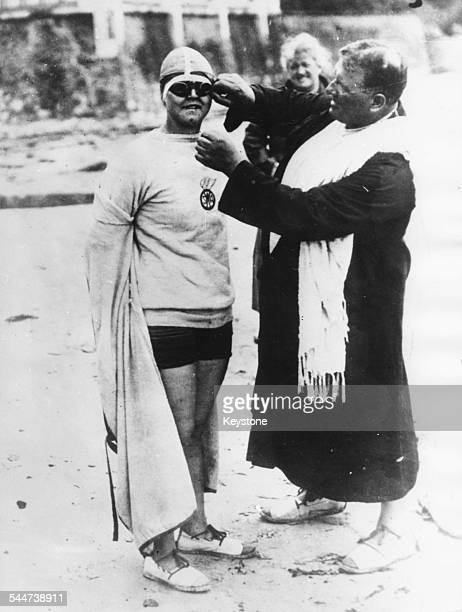 American swimmer Gertrude Ederle getting ready for her first attempt at swimming the English Channel circa 1926