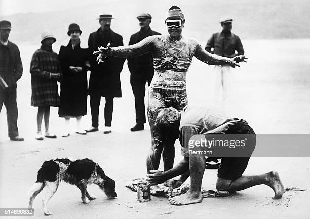 American swimmer Gertrude Ederle prepares to swim the English channel from Cap GrisNez in France to Dover England | Location Cap GrisNez France