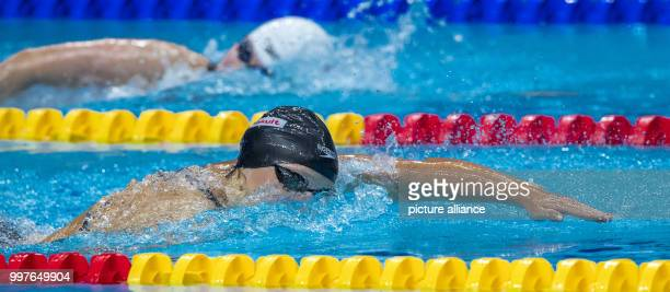 American swimmer Katie Ledecky in action during the women's 800 metre freestyle event at the FINA World Championships 2017 in Budapest Hungary 29...