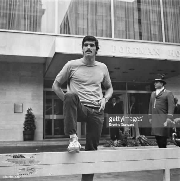 American swimmer Mark Spitz outside the Portman Hotel in London, UK, 6th September 1972.